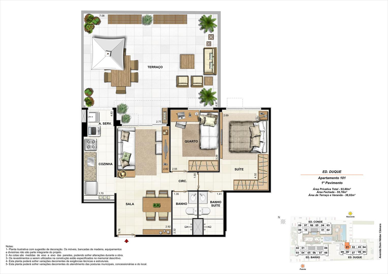 Ed. Duque   1º pavimento   Apartamento 101 de 93,80m2 com 01 suíte | Nobre Norte Clube Residencial – Apartamento no  Méier - Rio de Janeiro - Rio de Janeiro