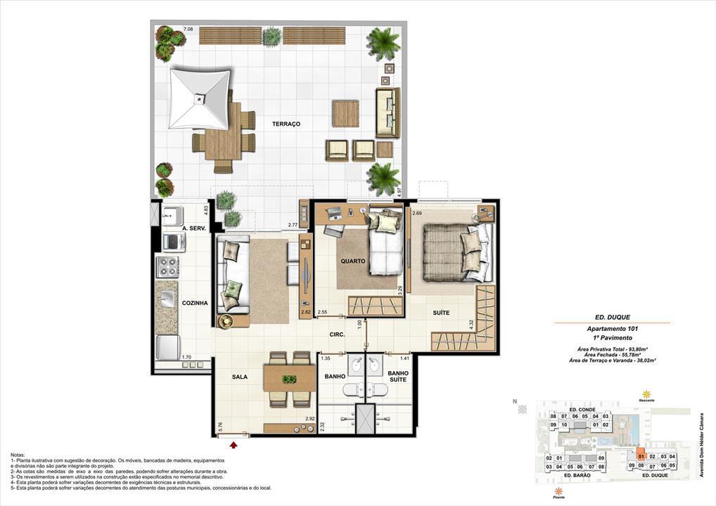 Ed. Duque   1º pavimento   Apartamento 101 de 93,80m2 com 01 suíte | Nobre Norte Clube Residencial – Apartamentono  Cachambi - Rio de Janeiro - Rio de Janeiro