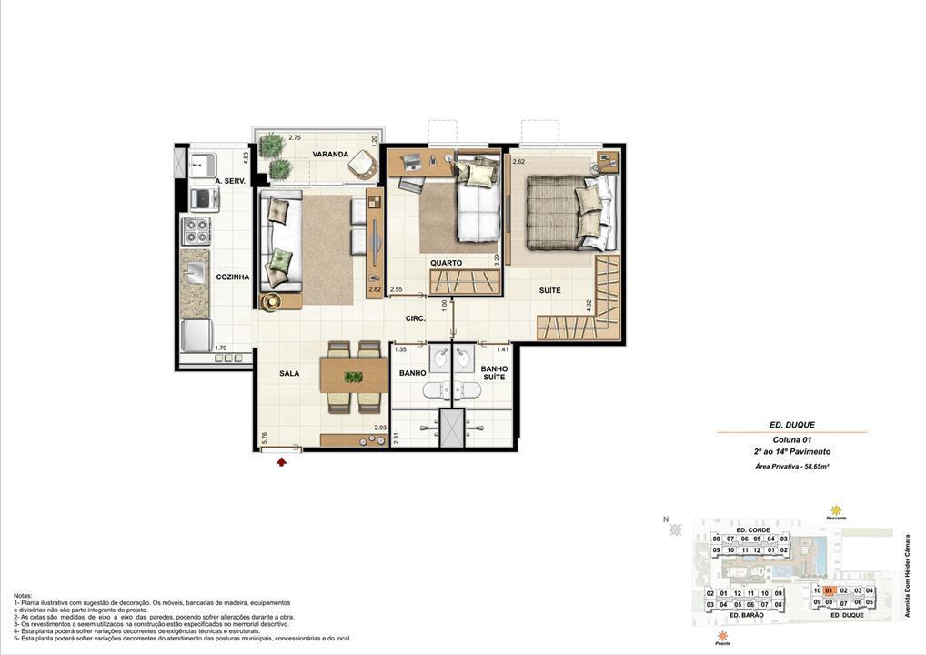 Ed. Duque   Coluna 1   Apartamento de 58,65m2 com 01 suíte | Nobre Norte Clube Residencial – Apartamentono  Cachambi - Rio de Janeiro - Rio de Janeiro