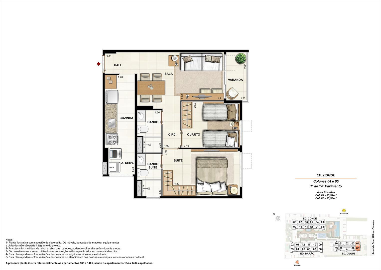 Ed. Duque   Coluna 4 e 5   Apartamento de 55,91m2 com 01 suíte | Nobre Norte Clube Residencial – Apartamento no  Cachambi - Rio de Janeiro - Rio de Janeiro