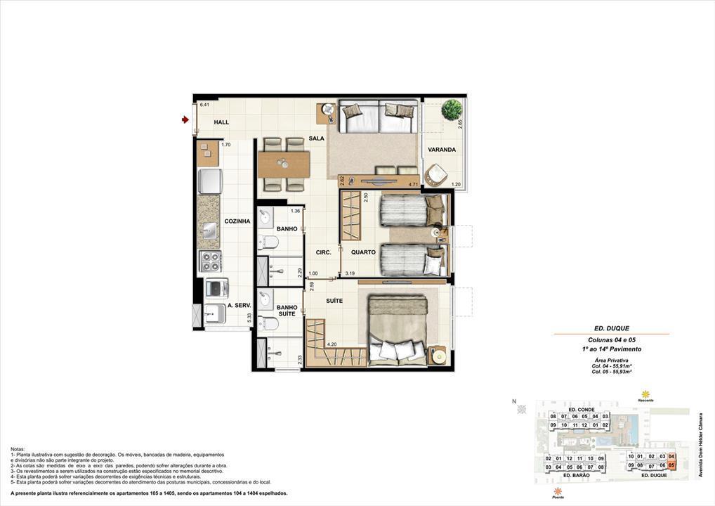 Ed. Duque   Coluna 4 e 5   Apartamento de 55,91m2 com 01 suíte | Nobre Norte Clube Residencial – Apartamentono  Cachambi - Rio de Janeiro - Rio de Janeiro