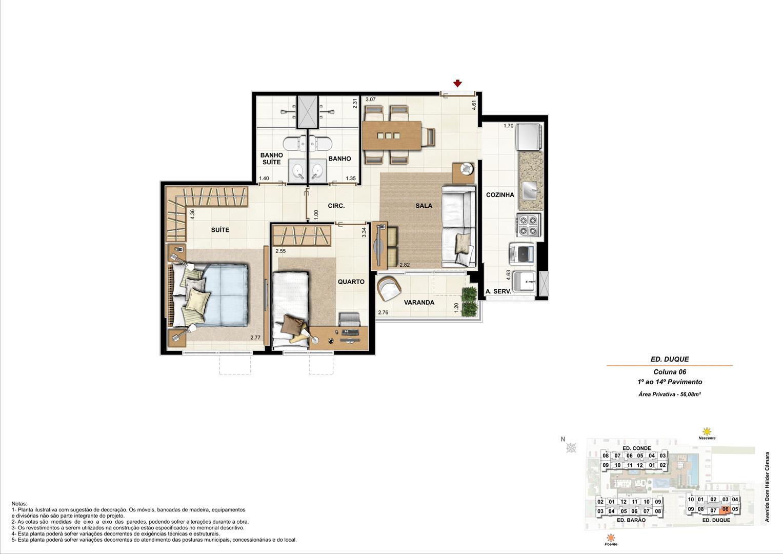 Ed. Duque   Coluna 6   Apartamento de 56,08m2 com 01 suíte | Nobre Norte Clube Residencial – Apartamento no  Cachambi - Rio de Janeiro - Rio de Janeiro