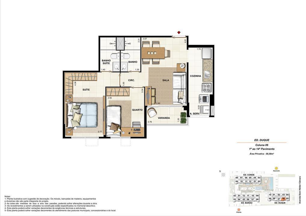 Ed. Duque   Coluna 6   Apartamento de 56,08m2 com 01 suíte | Nobre Norte Clube Residencial – Apartamentono  Cachambi - Rio de Janeiro - Rio de Janeiro