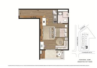 Planta tipo Final 2 34,06m² | Vibe República – Apartamento no  Centro - República - São Paulo - São Paulo