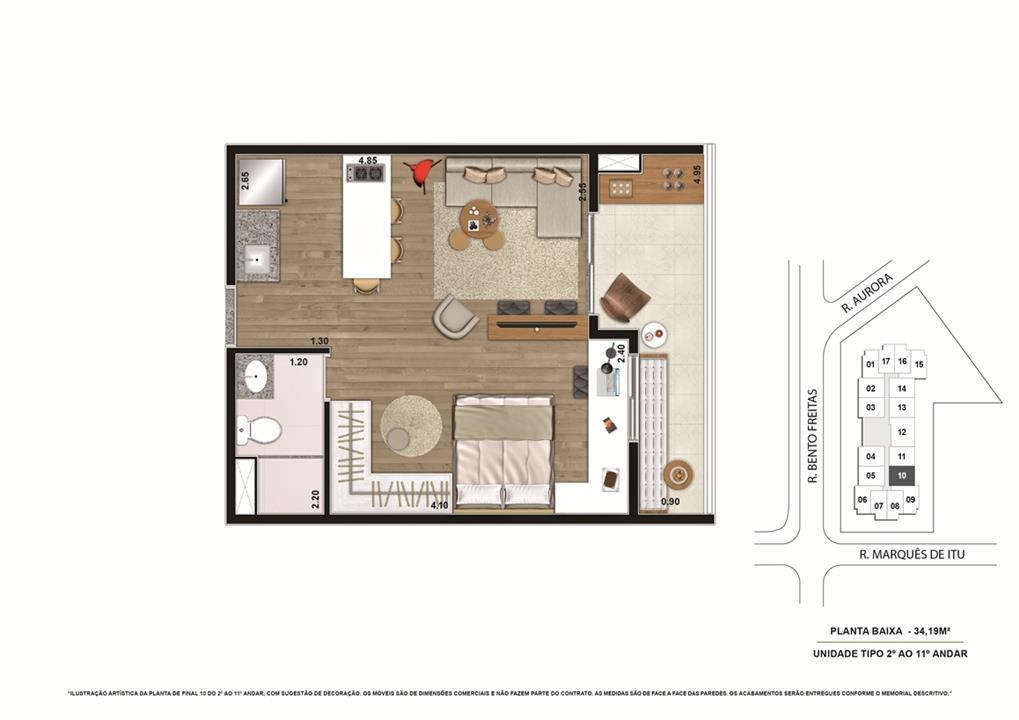 Planta tipo Final 4 34,19m² | Vibe República – Apartamentono  Centro - República - São Paulo - São Paulo
