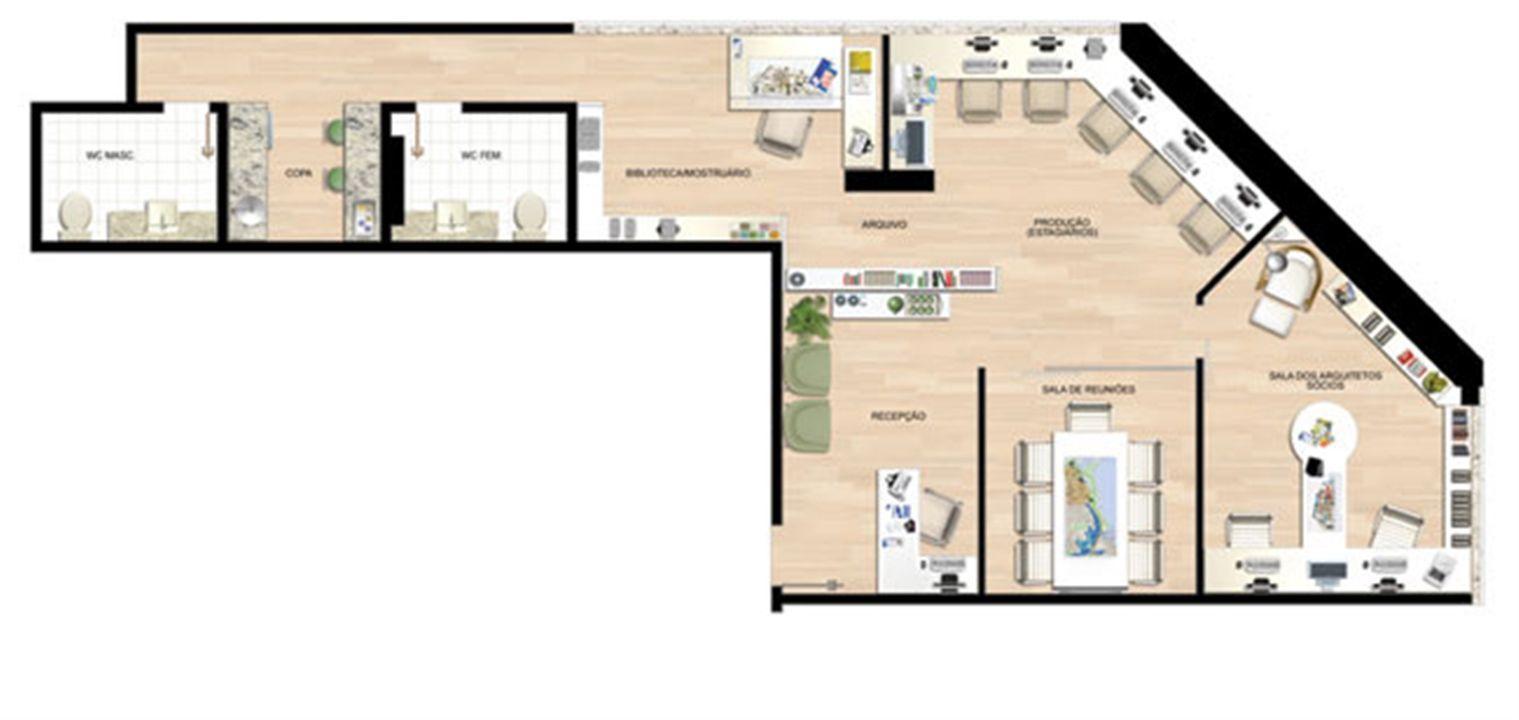 Planta 91,15 m² | América Centro Empresarial – Salas Comerciaisna  Mata da Praia - Vitória - Espírito Santo