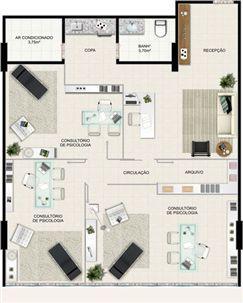 Planta 105,97 m² | América Centro Empresarial – Salas Comerciais na  Mata da Praia - Vitória - Espírito Santo