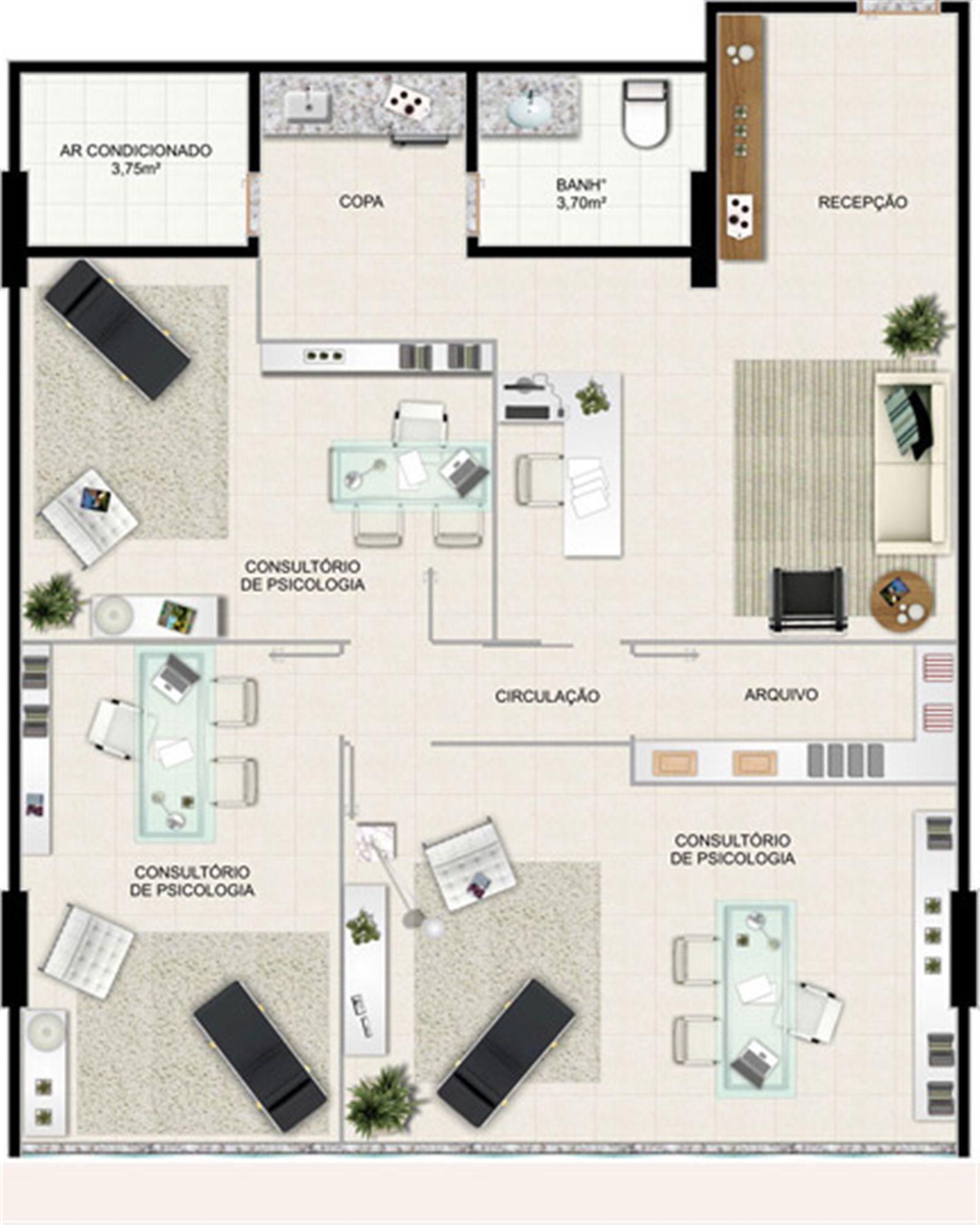 Planta 105,97 m² | América Centro Empresarial – Salas Comerciaisna  Mata da Praia - Vitória - Espírito Santo