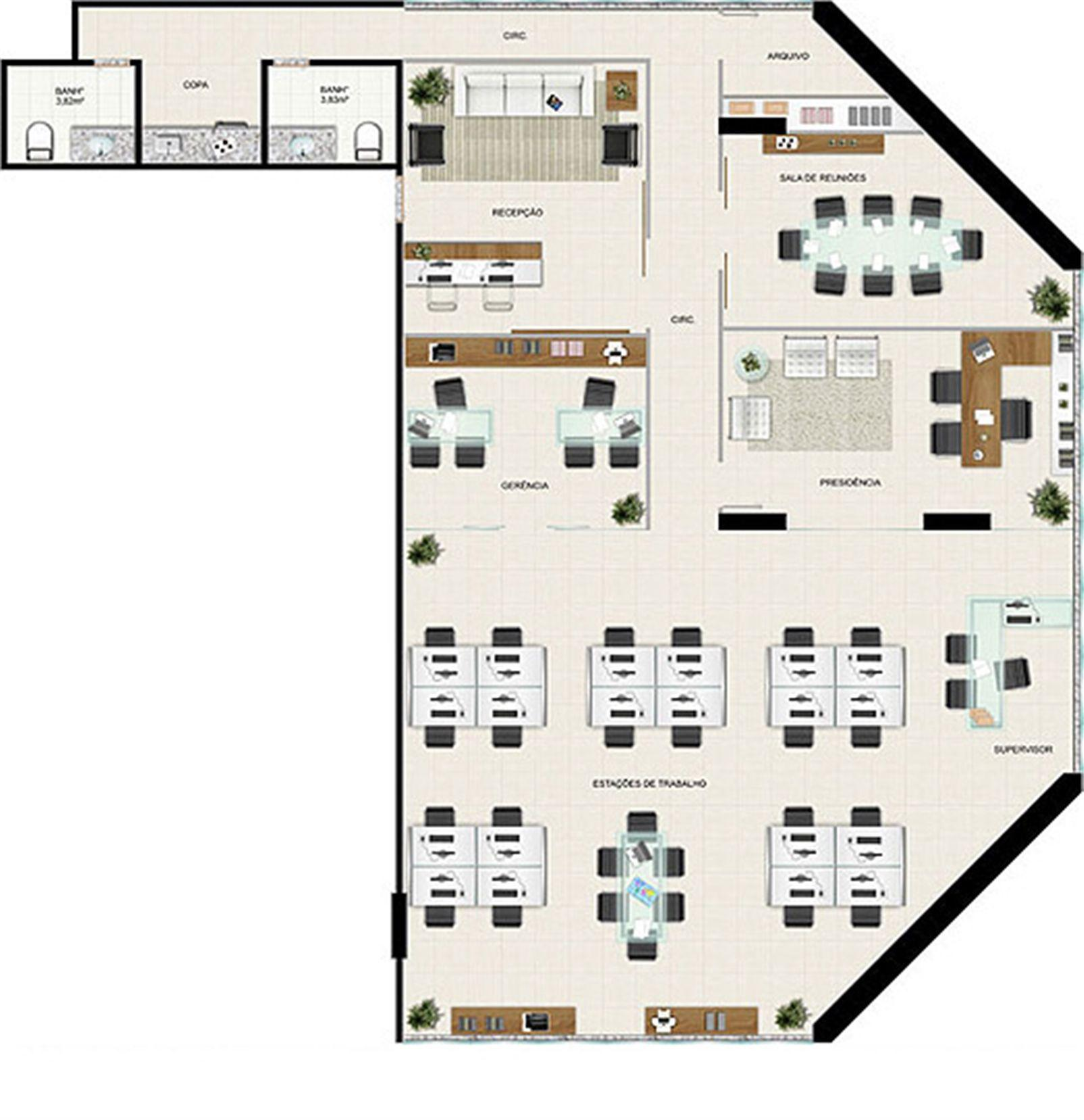 Planta 227,21 m² | América Centro Empresarial – Salas Comerciaisna  Mata da Praia - Vitória - Espírito Santo