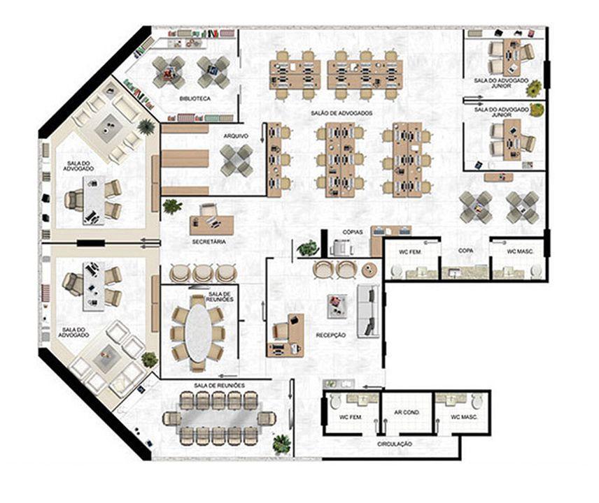 Planta 343,09 m² (2) | América Centro Empresarial – Salas Comerciaisna  Mata da Praia - Vitória - Espírito Santo