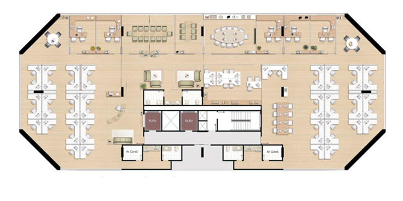 Planta andar completo - 686,18 m² | América Centro Empresarial – Salas Comerciaisna  Mata da Praia - Vitória - Espírito Santo