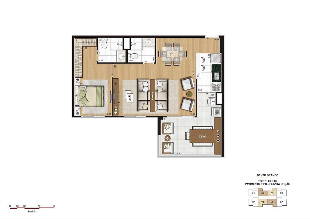 PLANTA 68M² OPÇÃO  | Panamerica Brickell – Apartamentoem  Santo Amaro - São Paulo - São Paulo