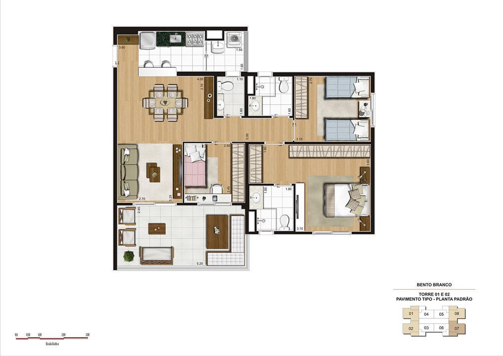 PLANTA 92M² PADRÃO | Panamerica Brickell – Apartamentoem  Santo Amaro - São Paulo - São Paulo