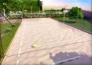 Perspectiva ilustrada da quadra de areia