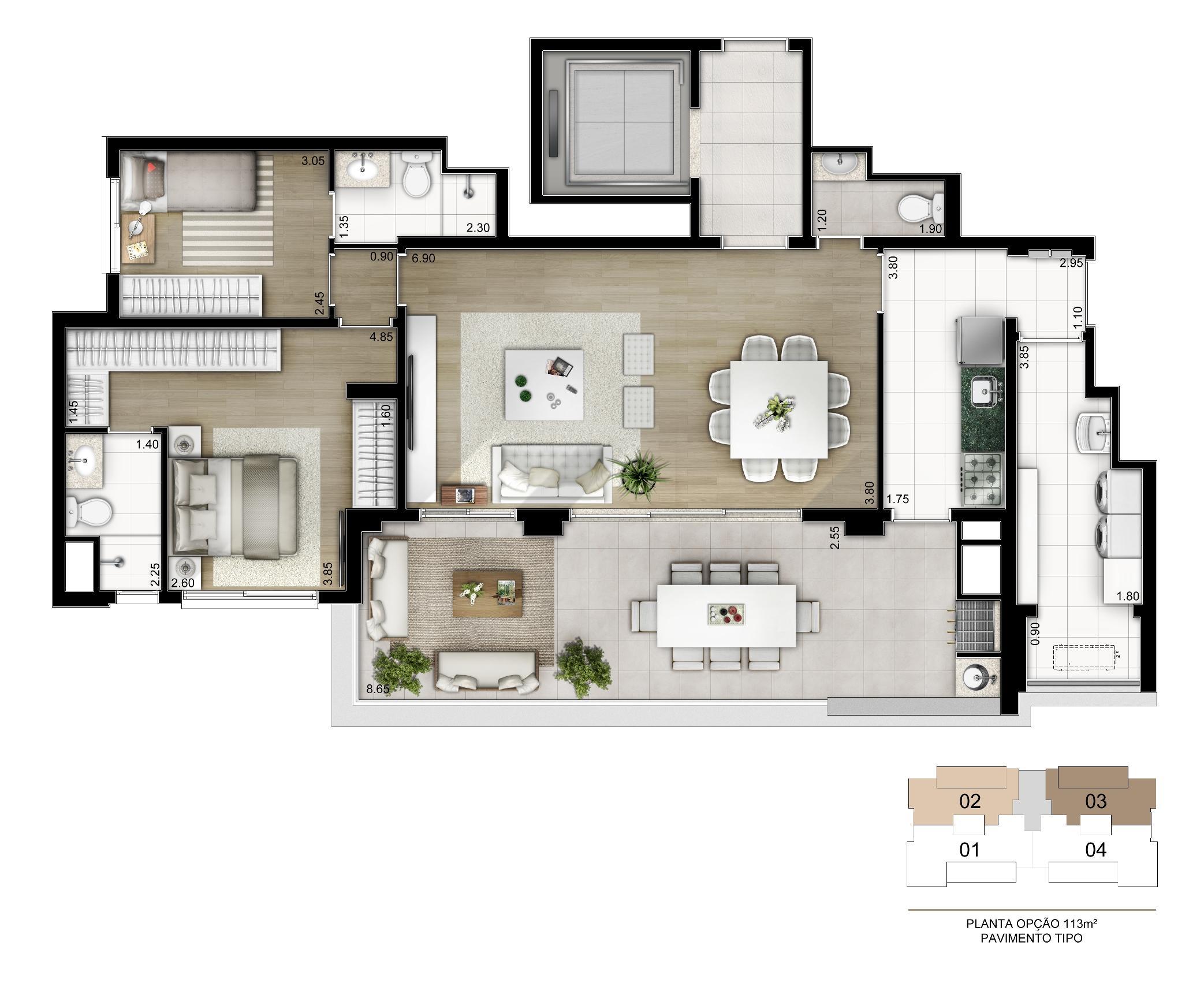 Planta Opção 113 m²   2 suítes com depósito privativo | Cyrela Legacy Vila Mariana – Apartamento na  Vila Mariana - São Paulo - São Paulo