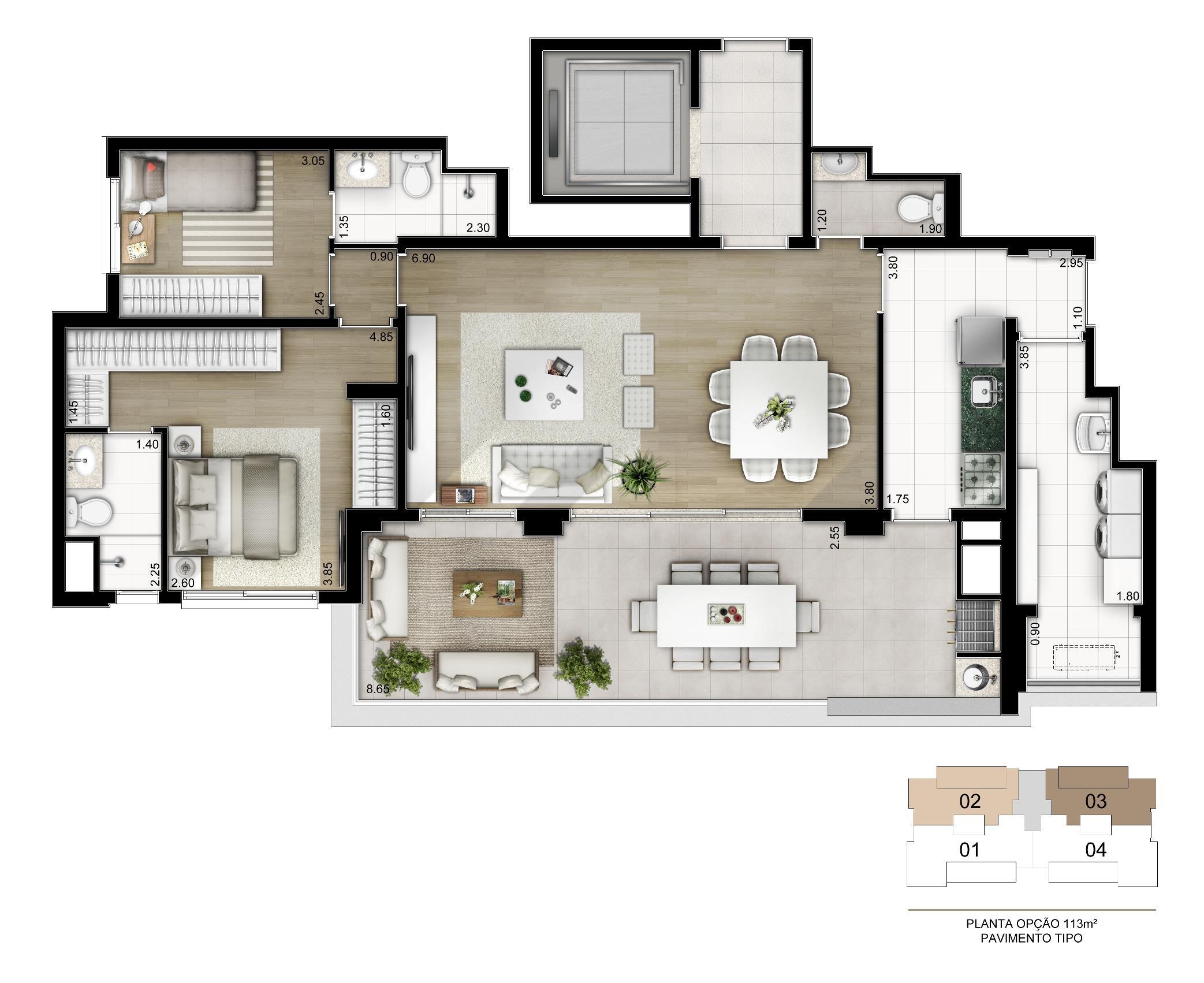 Planta Opção 113 m²   2 suítes com depósito privativo | Cyrela Legacy Vila Mariana – Apartamentona  Vila Mariana - São Paulo - São Paulo