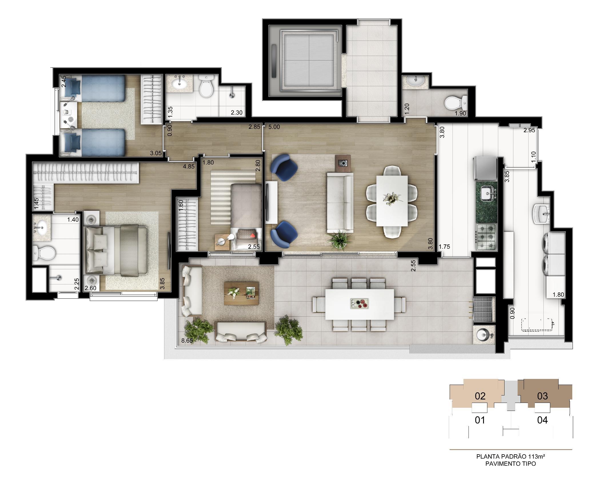 Planta Tipo  113 m²   3 dorms. (1 suíte) com depósito privativo | Cyrela Legacy Vila Mariana – Apartamentona  Vila Mariana - São Paulo - São Paulo