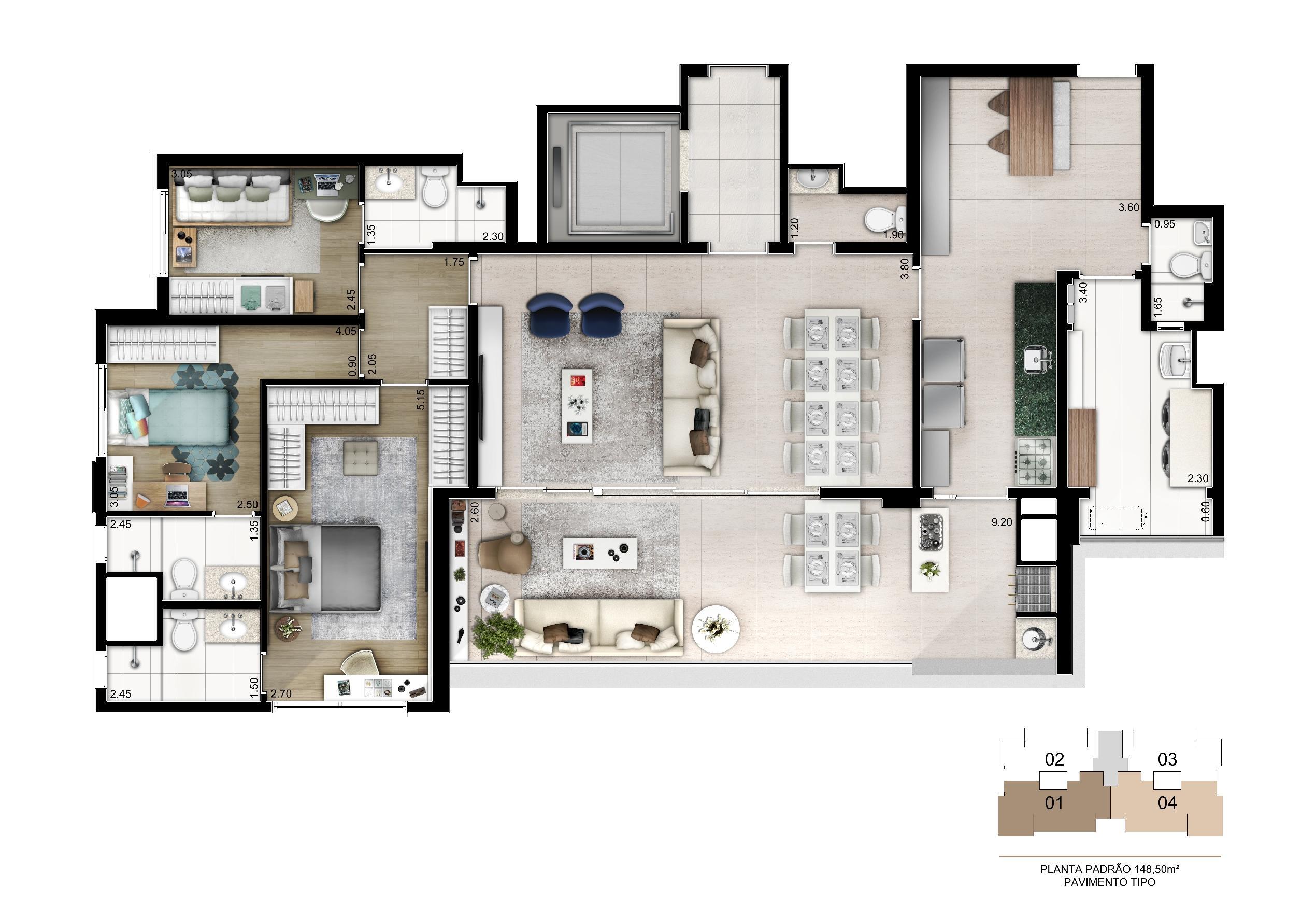 Planta Tipo 149 m²   3 suítes com depósito privativo | Cyrela Legacy Vila Mariana – Apartamento na  Vila Mariana - São Paulo - São Paulo