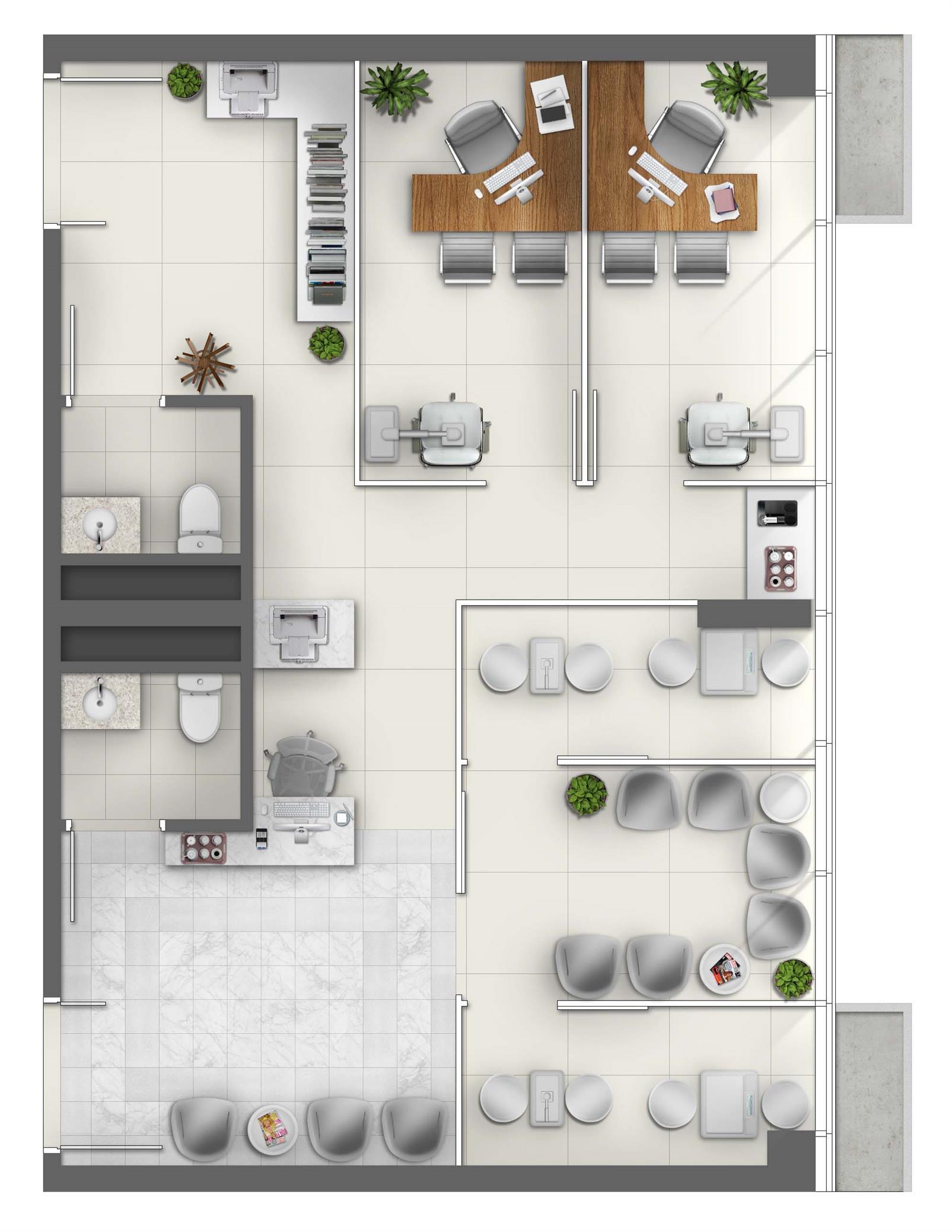 Consultório de Oftalmologia (Junção) - Área 73m² - Torre Norte Saúde | MEDPLEX - Torre Norte  – Salas Comerciaisno  Centro do Eixo Hospitalar  - Porto Alegre - Rio Grande do Sul