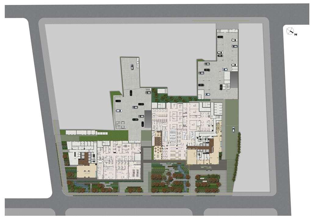 Implantação Térreo 1ª e 2ª Incorporação | MEDPLEX - Torre Norte – Salas Comerciaisno  Centro do Eixo Hospitalar  - Porto Alegre - Rio Grande do Sul