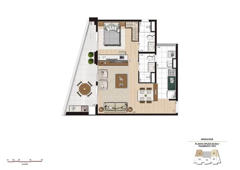 Planta opção 68m² - Finais 1 e 5 | Cyrela The Year Edition – Apartamentono  Alto da Lapa - São Paulo - São Paulo