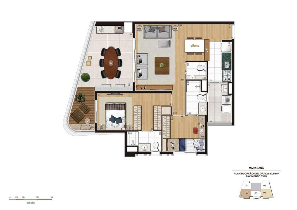 Planta opção 92m² | Cyrela The Year Edition – Apartamentono  Alto da Lapa - São Paulo - São Paulo