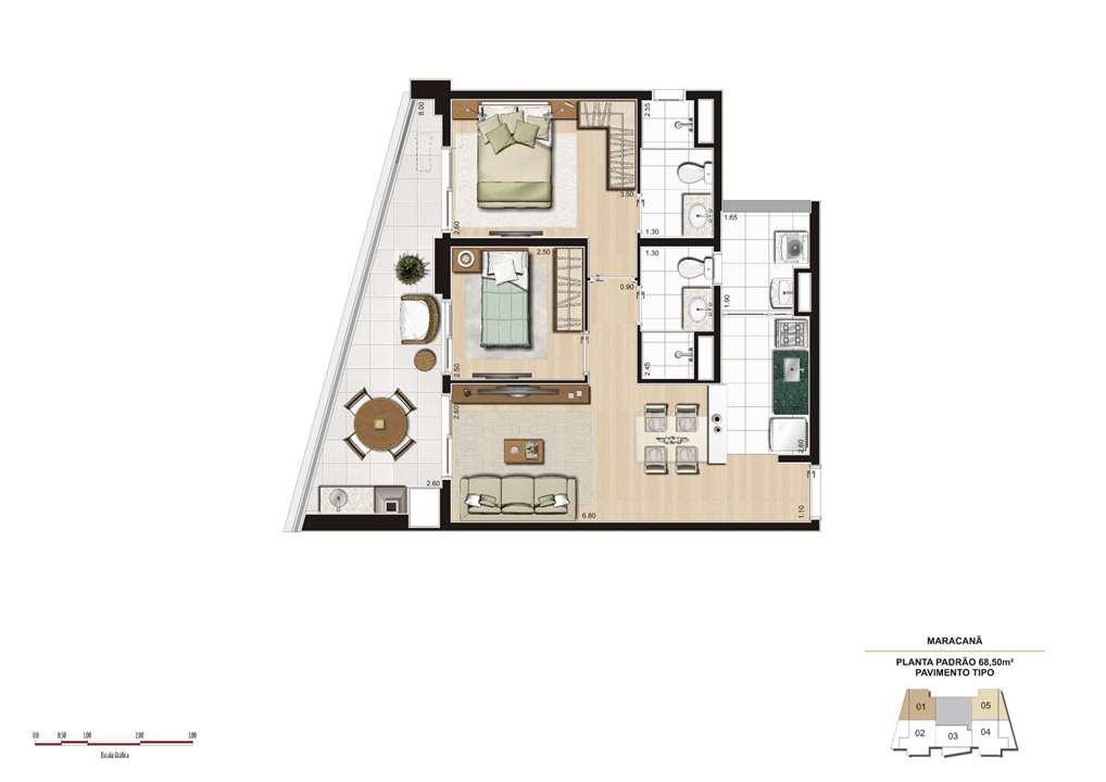Planta tipo 68m² - Finais 1 e 5 | Cyrela The Year Edition – Apartamentono  Alto da Lapa - São Paulo - São Paulo