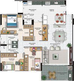 Planta apartamento 1 | Edifício Caiobás – Apartamento em  Laranjeiras - Serra - Espírito Santo