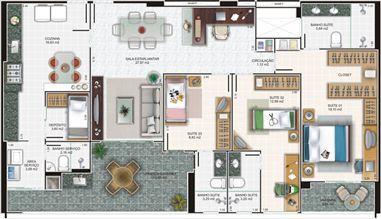Planta apartamento 2 | Edifício Caiobás – Apartamento em  Laranjeiras - Serra - Espírito Santo