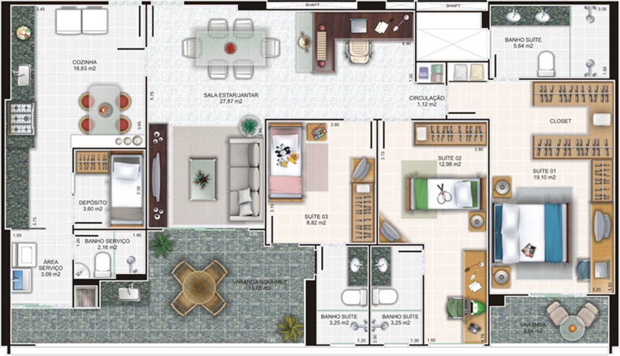 Planta apartamento 2 | Edifício Caiobás – Apartamentoem  Laranjeiras - Serra - Espírito Santo