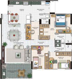 Planta apartamento 3 | Edifício Caiobás – Apartamento em  Laranjeiras - Serra - Espírito Santo