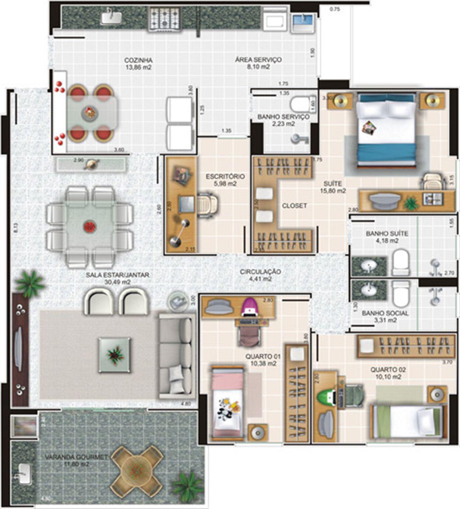 Planta apartamento 3 | Edifício Caiobás – Apartamentoem  Laranjeiras - Serra - Espírito Santo