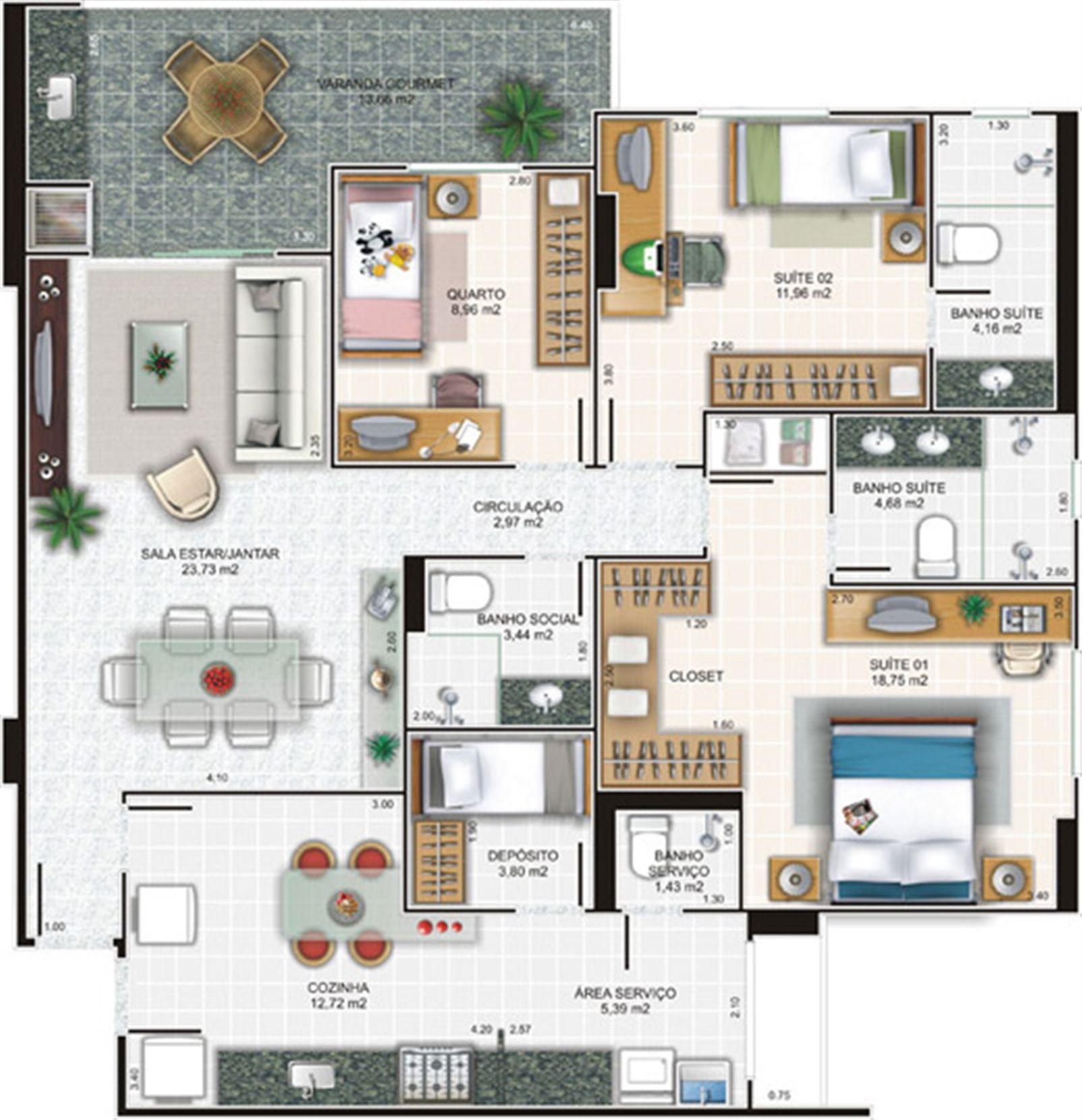 Planta apartamento 4 | Edifício Caiobás – Apartamentoem  Laranjeiras - Serra - Espírito Santo