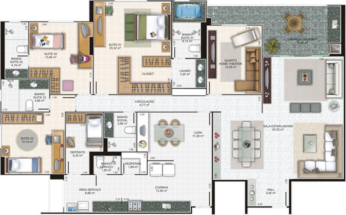 Planta apartamento 6 | Edifício Caiobás – Apartamentoem  Laranjeiras - Serra - Espírito Santo