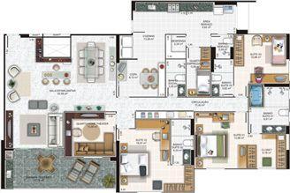 Planta cobertura 1 | Edifício Caiobás – Apartamento em  Laranjeiras - Serra - Espírito Santo
