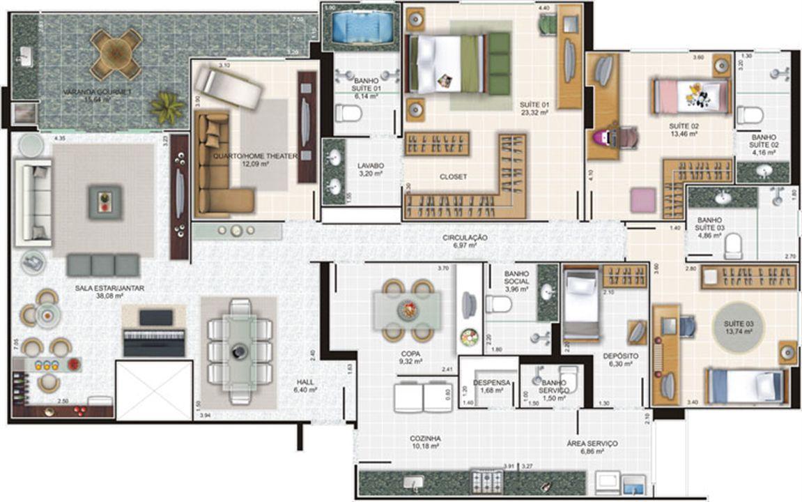 Planta cobertura 2 | Edifício Caiobás – Apartamentoem  Laranjeiras - Serra - Espírito Santo