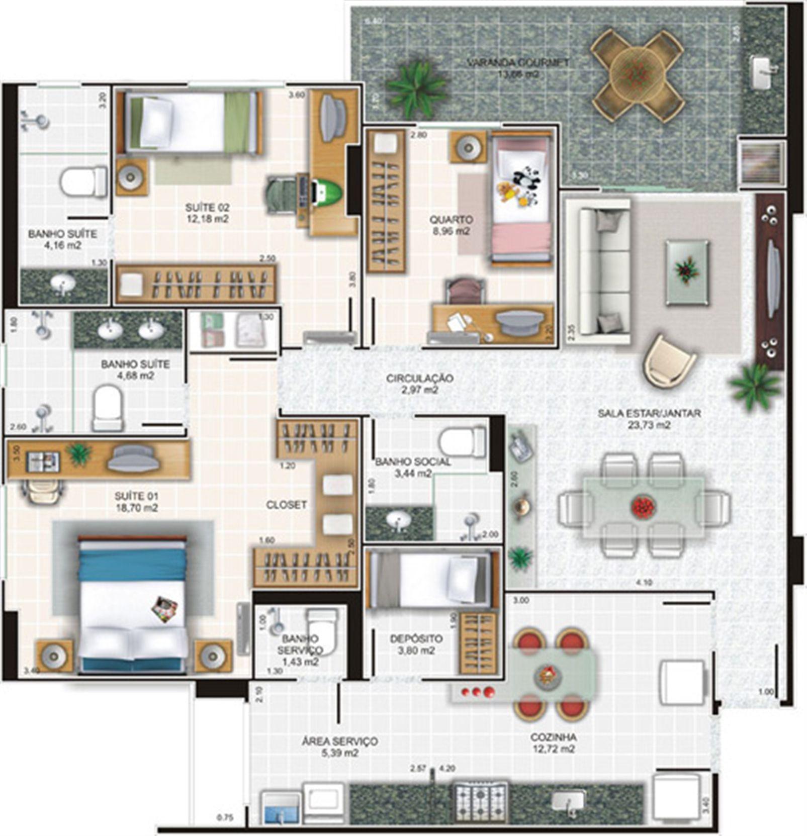 Planta cobertura 3 | Edifício Caiobás – Apartamentoem  Laranjeiras - Serra - Espírito Santo