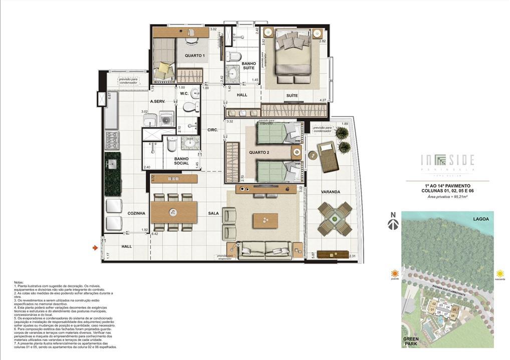 Planta 3 Quartos 1º ao 14º Pavimento Colunas 01, 02, 05 e 06 Área Privativa = 95,21m2 | IN SIDE PENÍNSULA HOME DESIGN – Apartamentona  Barra da Tijuca - Rio de Janeiro - Rio de Janeiro