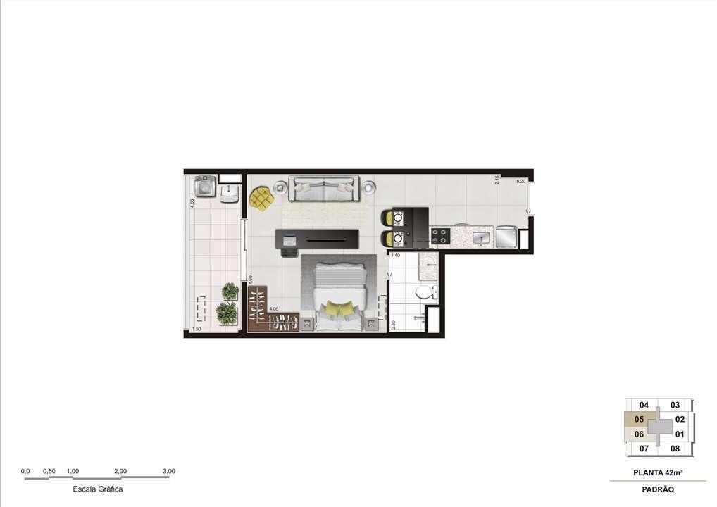 Planta do apartamento de 42m² | Cyrela InSPired in São Paulo – Apartamentona  Consolação - São Paulo - São Paulo