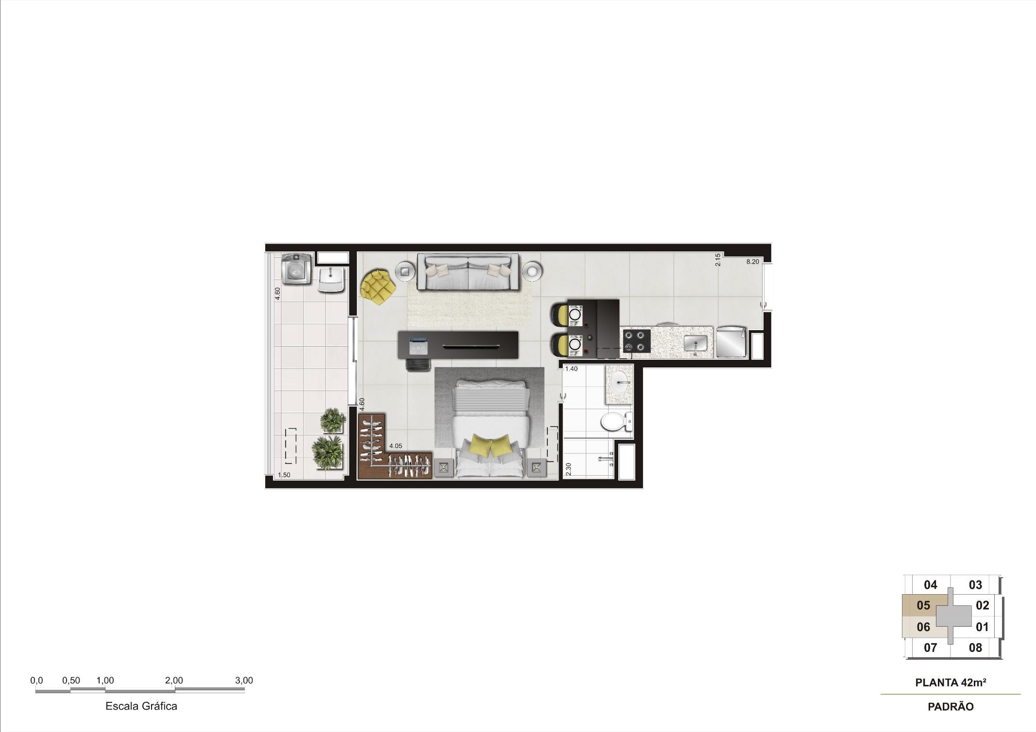 Planta do apartamento de 42m² | Cyrela InSPired in São Paulo – Apartamento na  Consolação - São Paulo - São Paulo