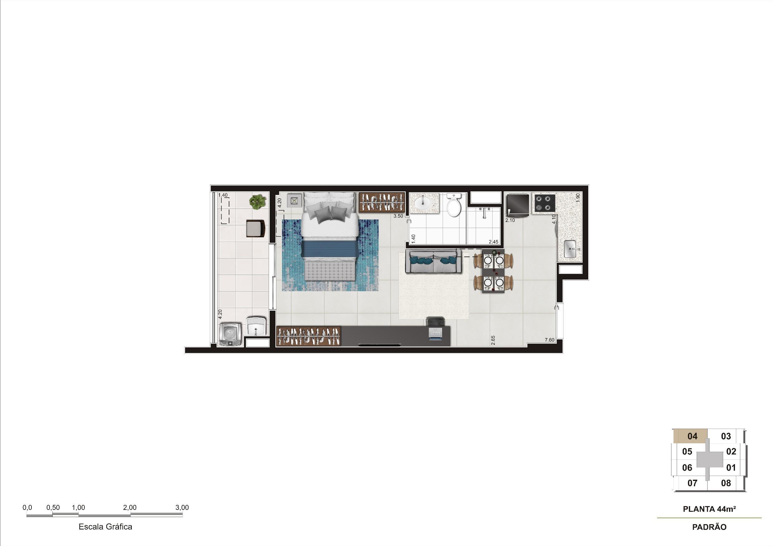 Planta do apartamento de 44m². | Cyrela InSPired in São Paulo – Apartamento na  Consolação - São Paulo - São Paulo