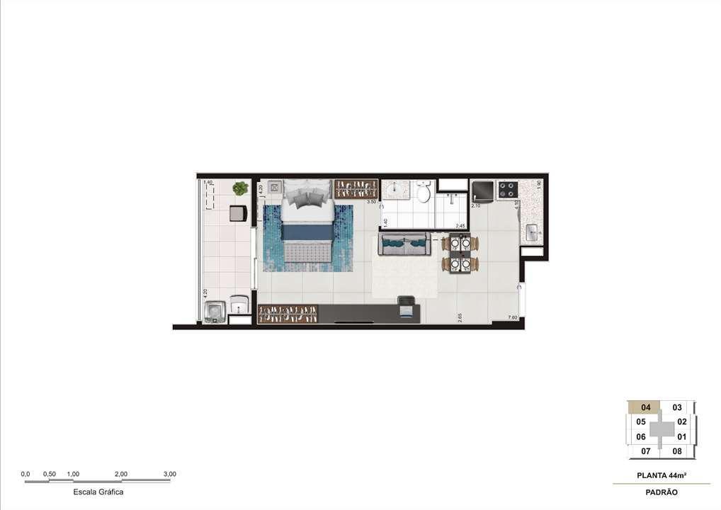 Planta do apartamento de 44m². | Cyrela InSPired in São Paulo – Apartamentona  Consolação - São Paulo - São Paulo