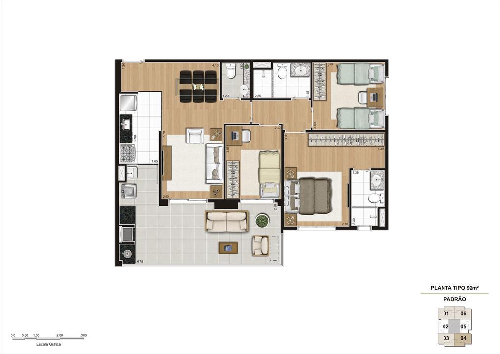 Planta tipo do apartamento de 92m² 3 dorms (1 suíte) | Cyrela Classic Lapa – Apartamentona  Lapa - São Paulo - São Paulo
