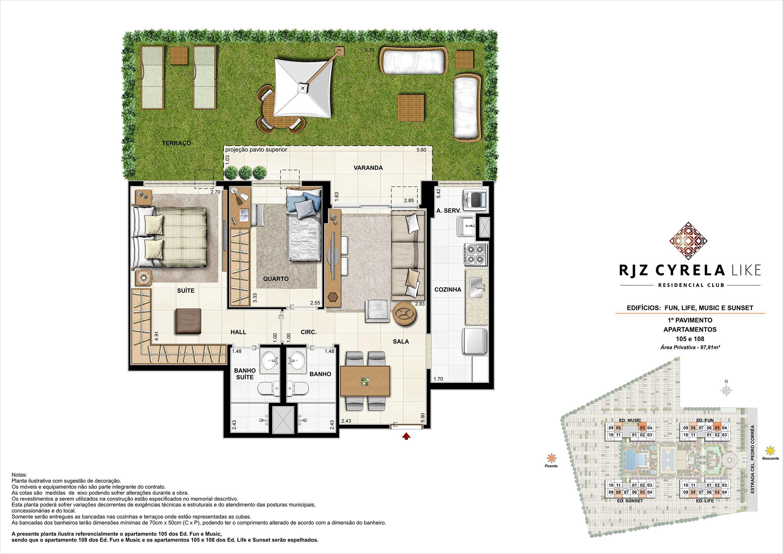 Apartamentos Garden de 2 quartos no 1º Pavimento. Área Privativa 105 e 108   97,91m² | RJZ Cyrela Like Residencial Club – Apartamento da  Barra Olímpica - Rio de Janeiro - Rio de Janeiro
