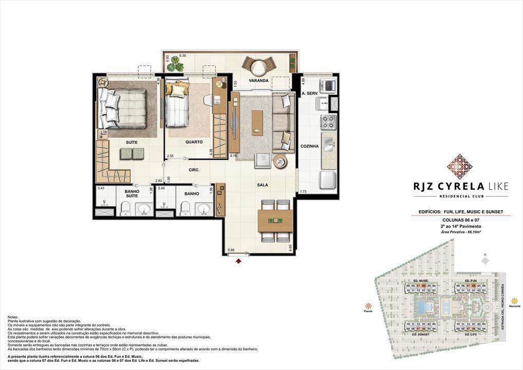Apartamentos Tipo de 2 quartos do 2º ao 14º Pavimento. Área Privativa Colunas 06 e 07   66,10m² | RJZ Cyrela Like Residencial Club – Apartamentoda  Barra Olímpica - Rio de Janeiro - Rio de Janeiro