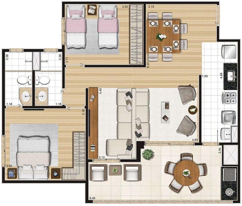 Planta Ampliada apartamento de 85m² | Cyrela Cypriani 955 Ipiranga – Apartamentono  Ipiranga - São Paulo - São Paulo