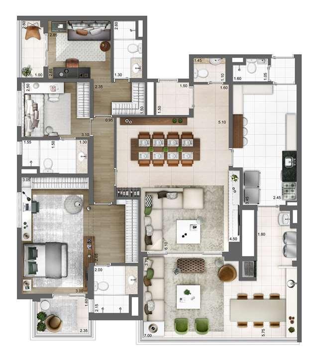 Planta tipo 165m² | 3 suítes | 3 vagas | elevador privativo | Atmosfera – Apartamentono  Bosque da Saúde - São Paulo - São Paulo