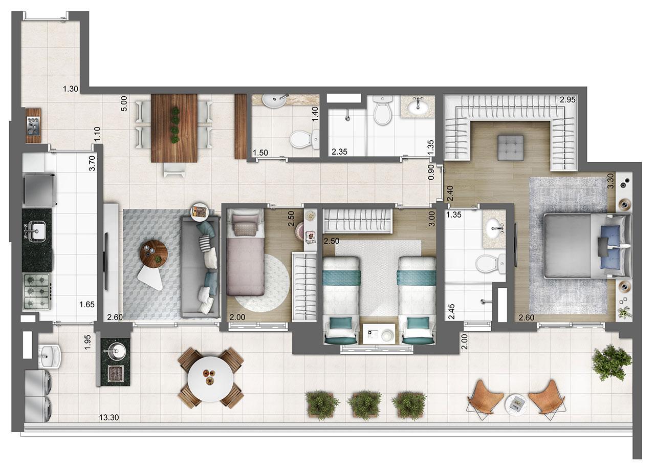 Planta tipo 103m² | 3 dorms. (1 suíte) | 2 vagas | Atmosfera – Apartamento no  Bosque da Saúde - São Paulo - São Paulo