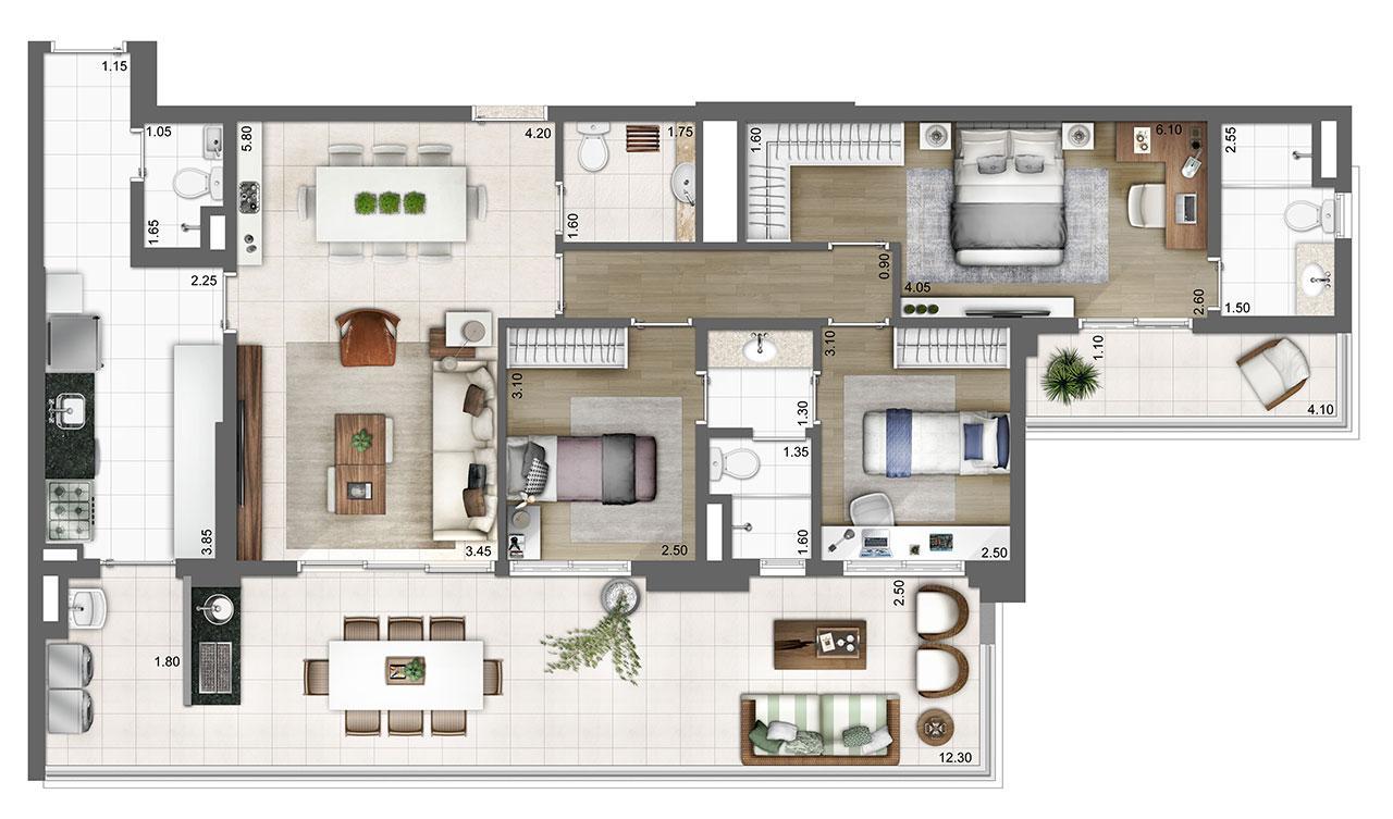 Planta tipo 133m²  | 3 suítes | 2 vagas | Atmosfera – Apartamento no  Bosque da Saúde - São Paulo - São Paulo