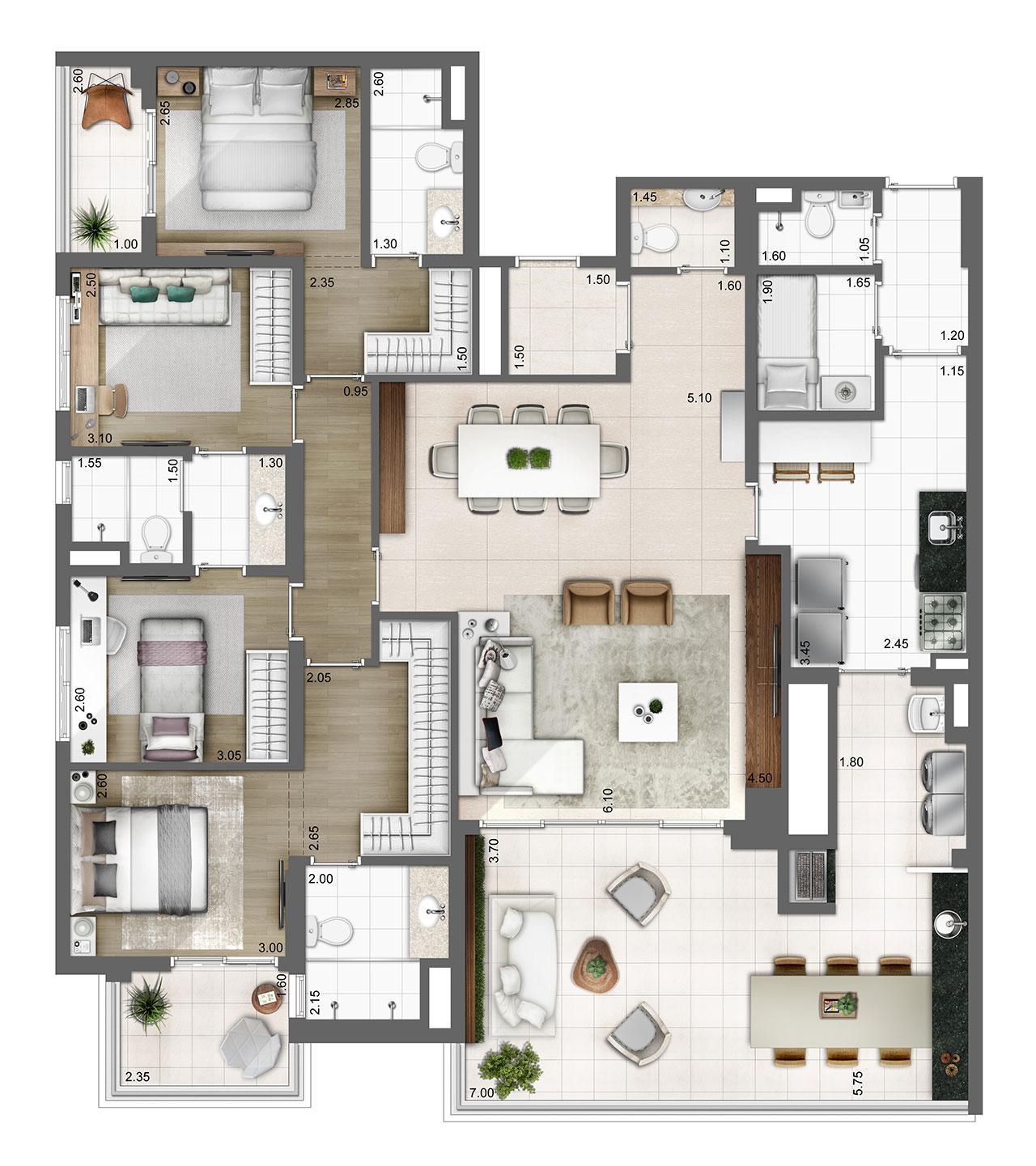 Planta tipo 165m² | 3 suítes | 3 vagas | elevador privativo | Atmosfera – Apartamento no  Bosque da Saúde - São Paulo - São Paulo